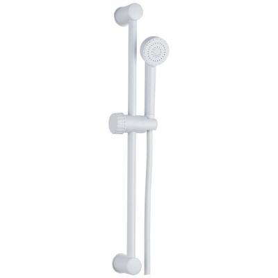 Душ комплект, бял с тръбно окачване, Аксесоари за смесители  Душ комплект, бял с тръбно окачване